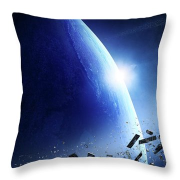 Space Junk Orbiting Earth Throw Pillow