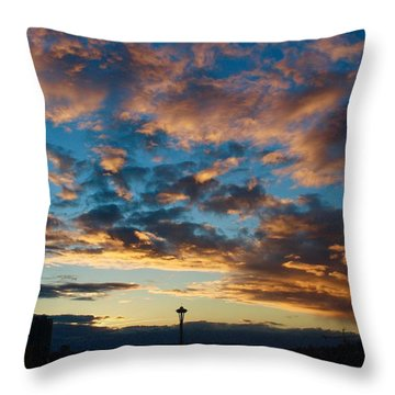Space Needle In Clouds Throw Pillow