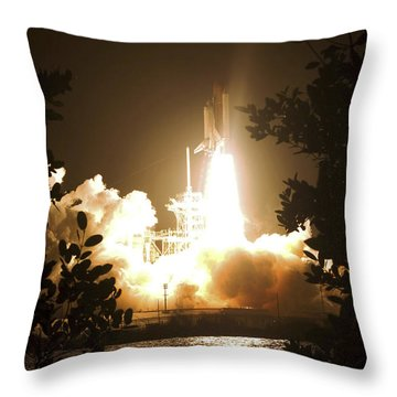 Space Shuttle Endeavour Liftoff Throw Pillow by Stocktrek Images