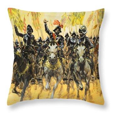 Spanish Conquistadors Throw Pillow