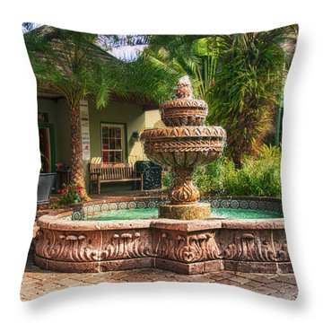 Spanish Fountain Throw Pillow