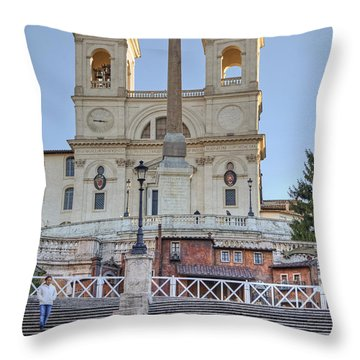 spanish steps in Rome Throw Pillow by Joana Kruse