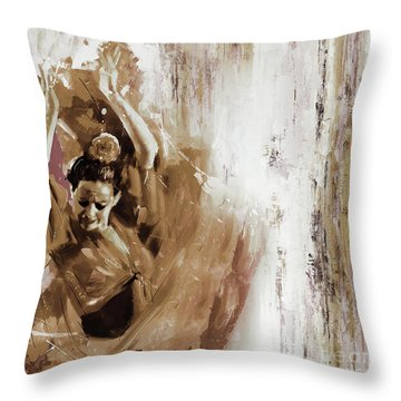 Throw Pillow featuring the painting Spanish Woman Dance  by Gull G