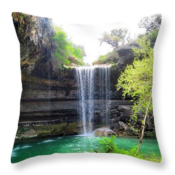 Spent The Day At Hamilton Pool. Yes Throw Pillow by Austin Tuxedo Cat
