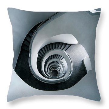 Throw Pillow featuring the photograph Spiral Staircase In Blue Tones by Jaroslaw Blaminsky