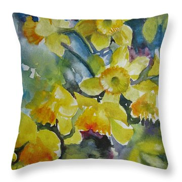 Throw Pillow featuring the painting Spring Flowers by Elena Oleniuc