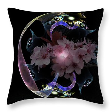 Spring Fractal Throw Pillow