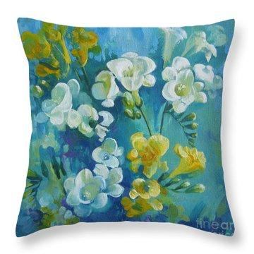 Throw Pillow featuring the painting Spring Fragrances by Elena Oleniuc