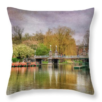 Throw Pillow featuring the photograph Spring In The Boston Public Garden by Joann Vitali