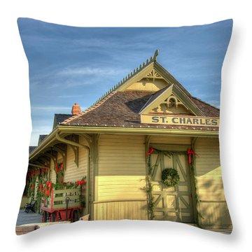 St. Charles Depot Throw Pillow by Steve Stuller