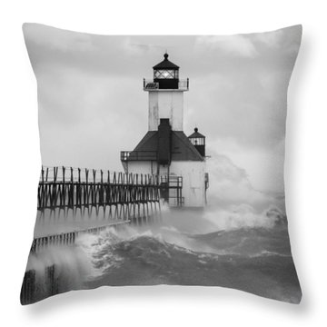 St. Joseph North Pier Lighthouse Throw Pillow