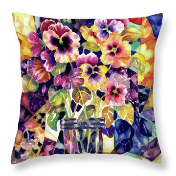 Stained Glass Pansies Throw Pillow