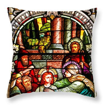 Throw Pillow featuring the photograph Stained Glass Scene 3 Crop by Adam Jewell