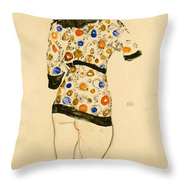 Standing Woman In A Patterned Blouse Throw Pillow