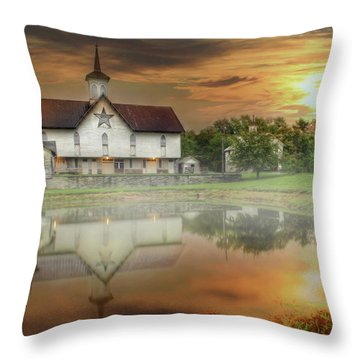 Throw Pillow featuring the mixed media Star Barn Sunrise by Lori Deiter