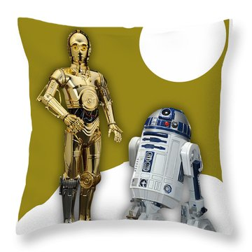 Star Wars C-3po And R2-d2 Throw Pillow by Marvin Blaine