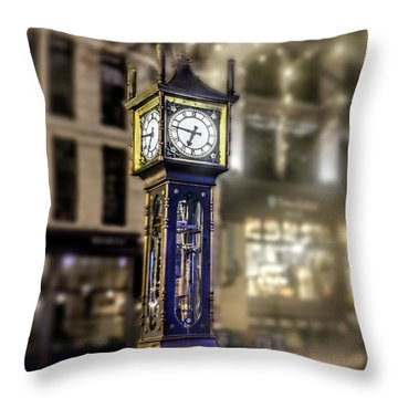 Throw Pillow featuring the photograph Steam Clock by Jim  Hatch