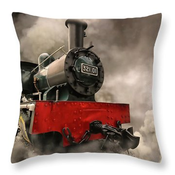 Throw Pillow featuring the photograph Steam Engine by Charuhas Images