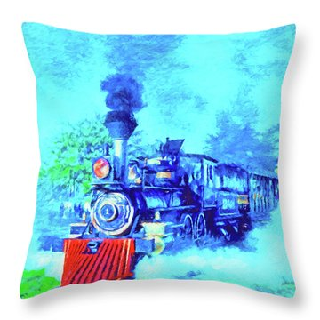 Edison Locomotive Throw Pillow by Dennis Cox