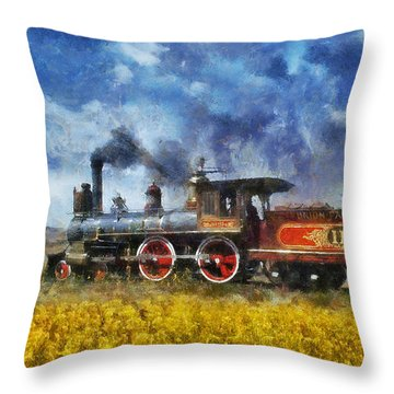 Throw Pillow featuring the photograph Steam Locomotive by Ian Mitchell