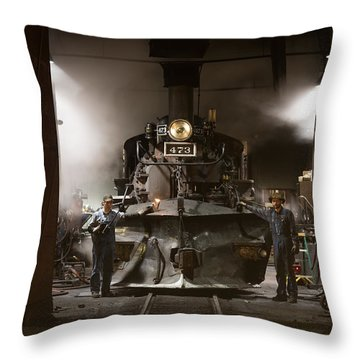 Throw Pillow featuring the photograph Steam Locomotive In The Roundhouse Of The Durango And Silverton Narrow Gauge Railroad In Durango by Carol M Highsmith