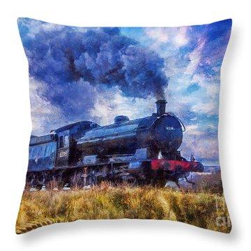 Throw Pillow featuring the digital art Steam Train by Ian Mitchell