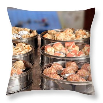 Steamers With Dim Sum Dishes Throw Pillow