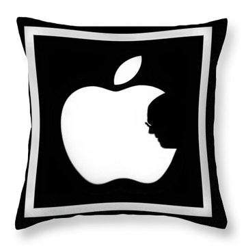 Steve Jobs Apple Throw Pillow