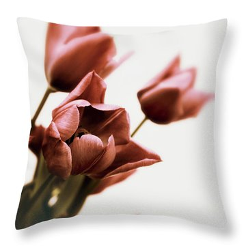 Throw Pillow featuring the photograph Still Life Tulips by Jessica Jenney