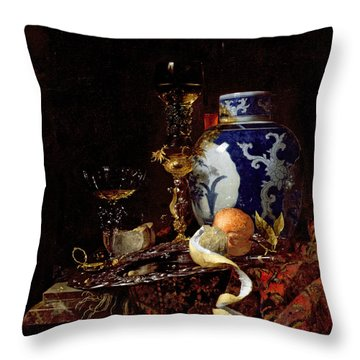 Still Life With A Chinese Porcelain Jar Throw Pillow by Willem Kalf