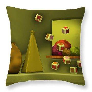 Still Life With Cubes Throw Pillow