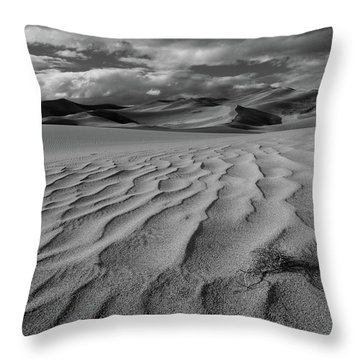 Storm Over Sand Dunes Throw Pillow