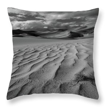 Storm Over Sand Dunes Throw Pillow