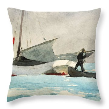 Stowing Sail Throw Pillow by Winslow Homer