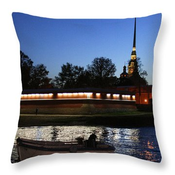 St.petersburg At Night Throw Pillow