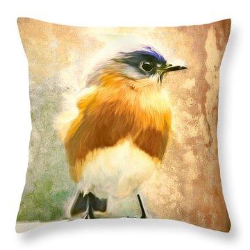 Strapping Bluebird Throw Pillow by Tina LeCour