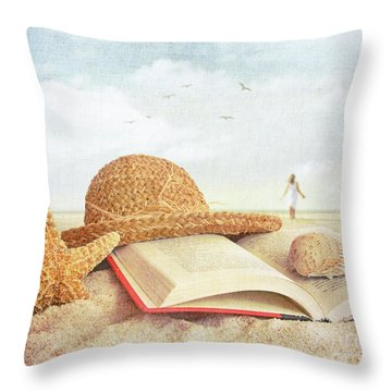 Straw Hat Book And Seashells In The Sand Throw Pillow