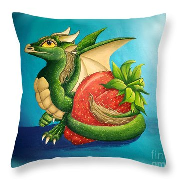 Throw Pillow featuring the painting Strawberry Dragon by Mary Hoy