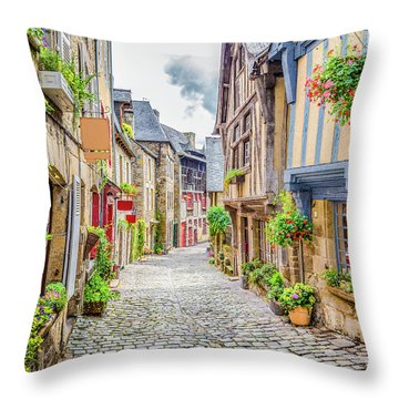 Streets Of Dinan Throw Pillow by JR Photography
