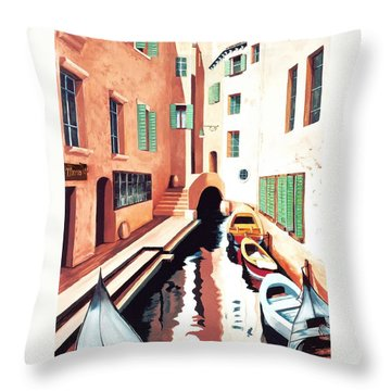 Streets Of Venice - Prints From Original Oil Painting Throw Pillow