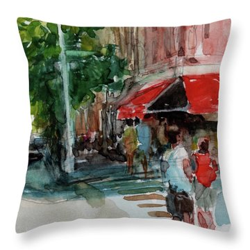 Streetscape With Red Awning - 82nd Street Market Throw Pillow by Peter Salwen