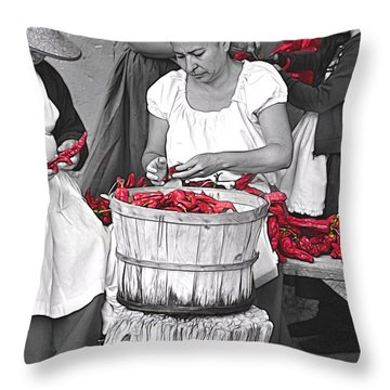 Stringing Ristras Throw Pillow