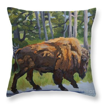 Throw Pillow featuring the painting Strutting Along, Yellowstone by Erin Fickert-Rowland