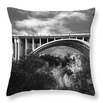 Suicide Bridge Bw Throw Pillow by Robert Hebert