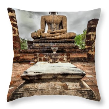 Throw Pillow featuring the photograph Sukhothai Historical Park by Adrian Evans