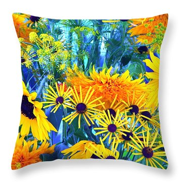 Throw Pillow featuring the photograph Summer Bouquet by Byron Varvarigos