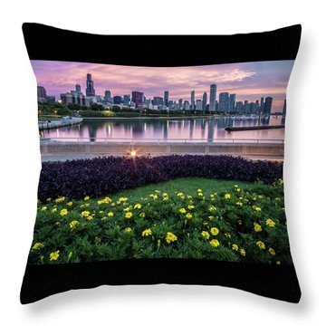 summer flowers and Chicago skyline Throw Pillow