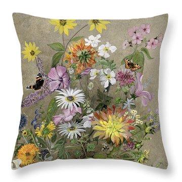 Summer Flowers Throw Pillow by John Gubbins