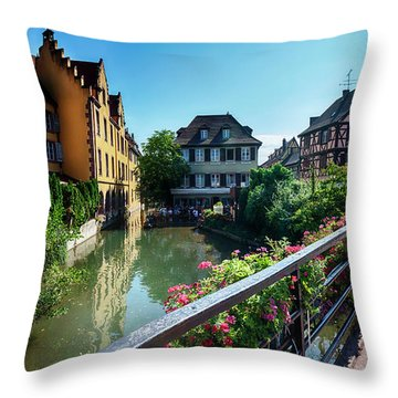 Throw Pillow featuring the photograph summer panorama in Colmar, named  by Ariadna De Raadt