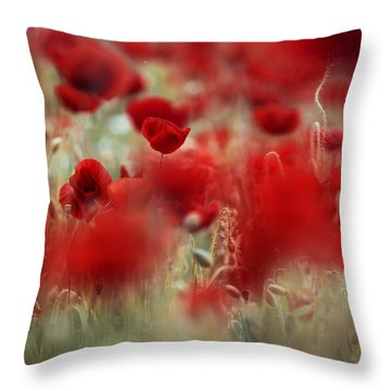 Summer Poppy Meadow Throw Pillow